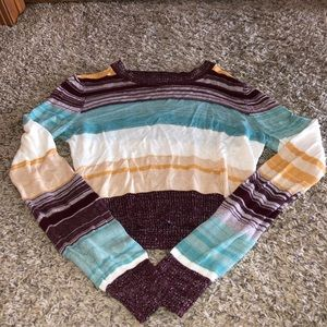 Striped sparkly cropped sweater